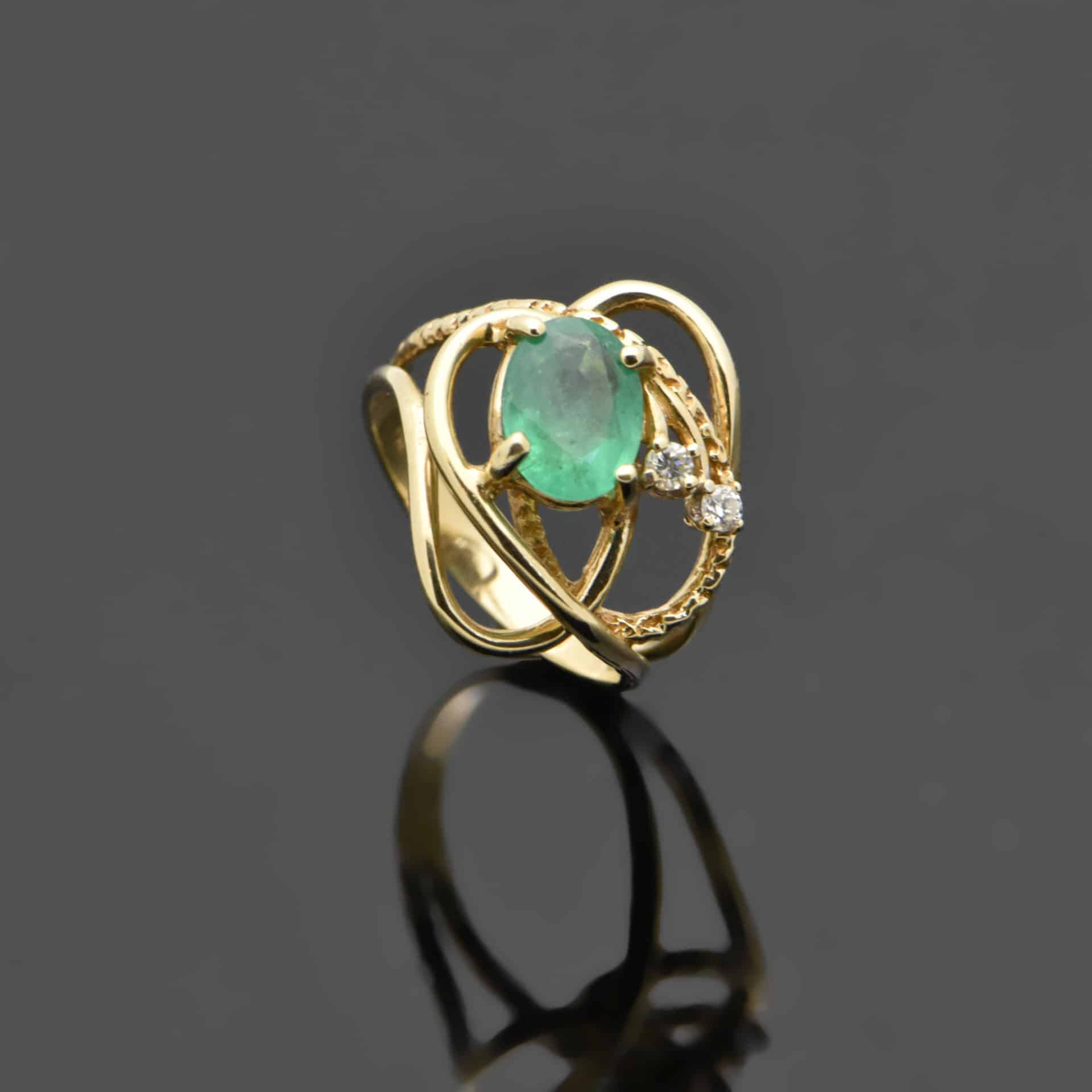 emerald vintage and trilogy ring diamond emeral stone rings three products fetheray quintessential